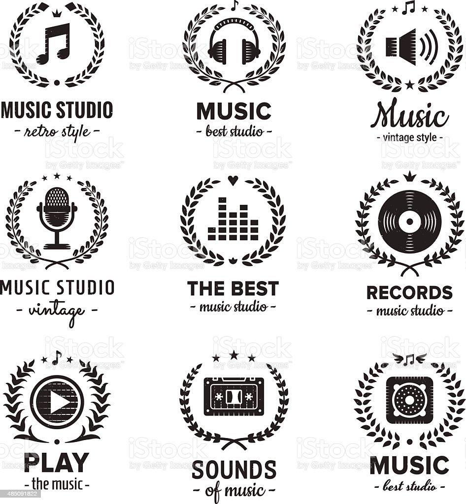 Music Studio Logo Vintage Vector Set Hipster And Retro