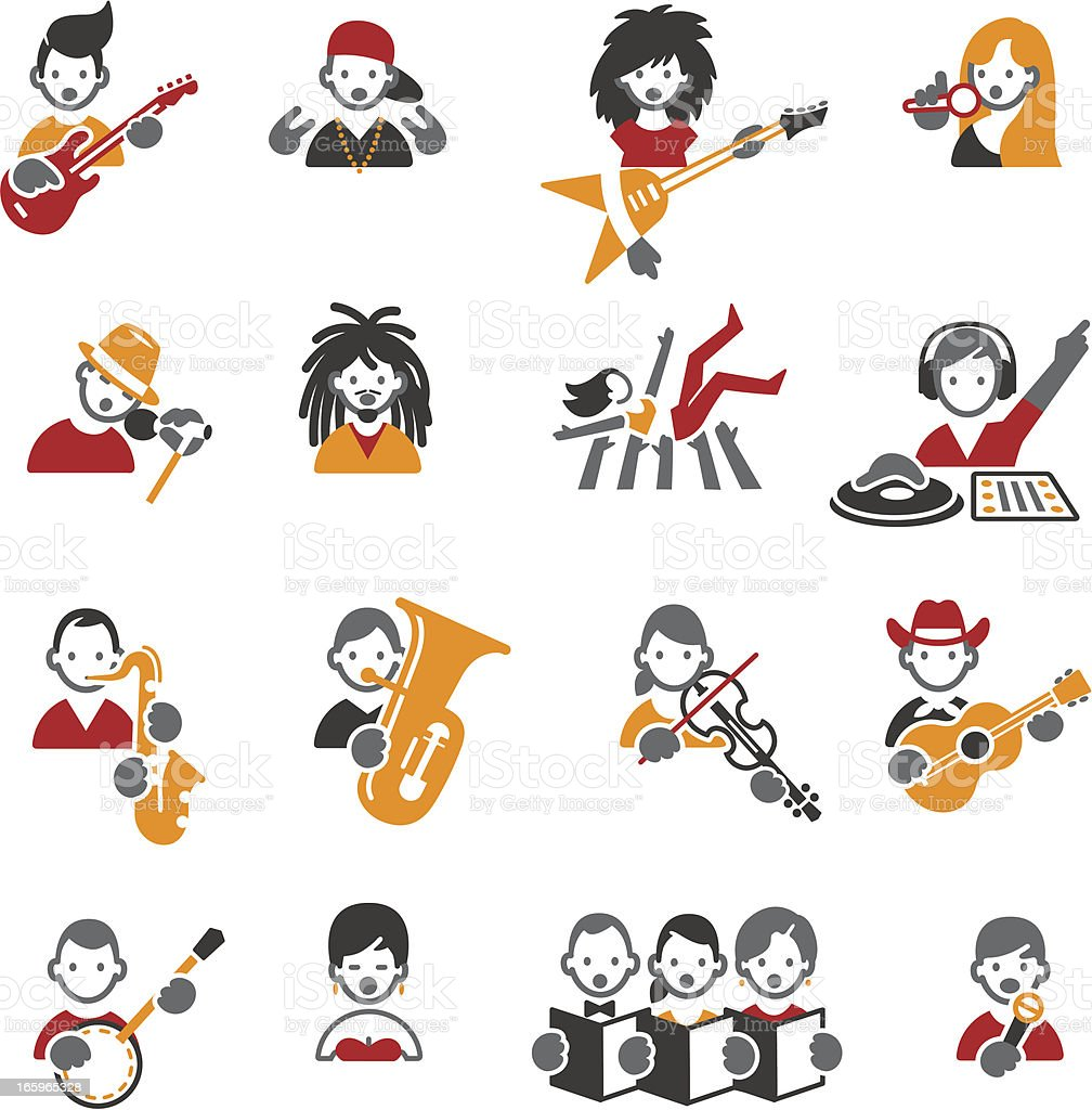Music styles icons. royalty-free stock vector art