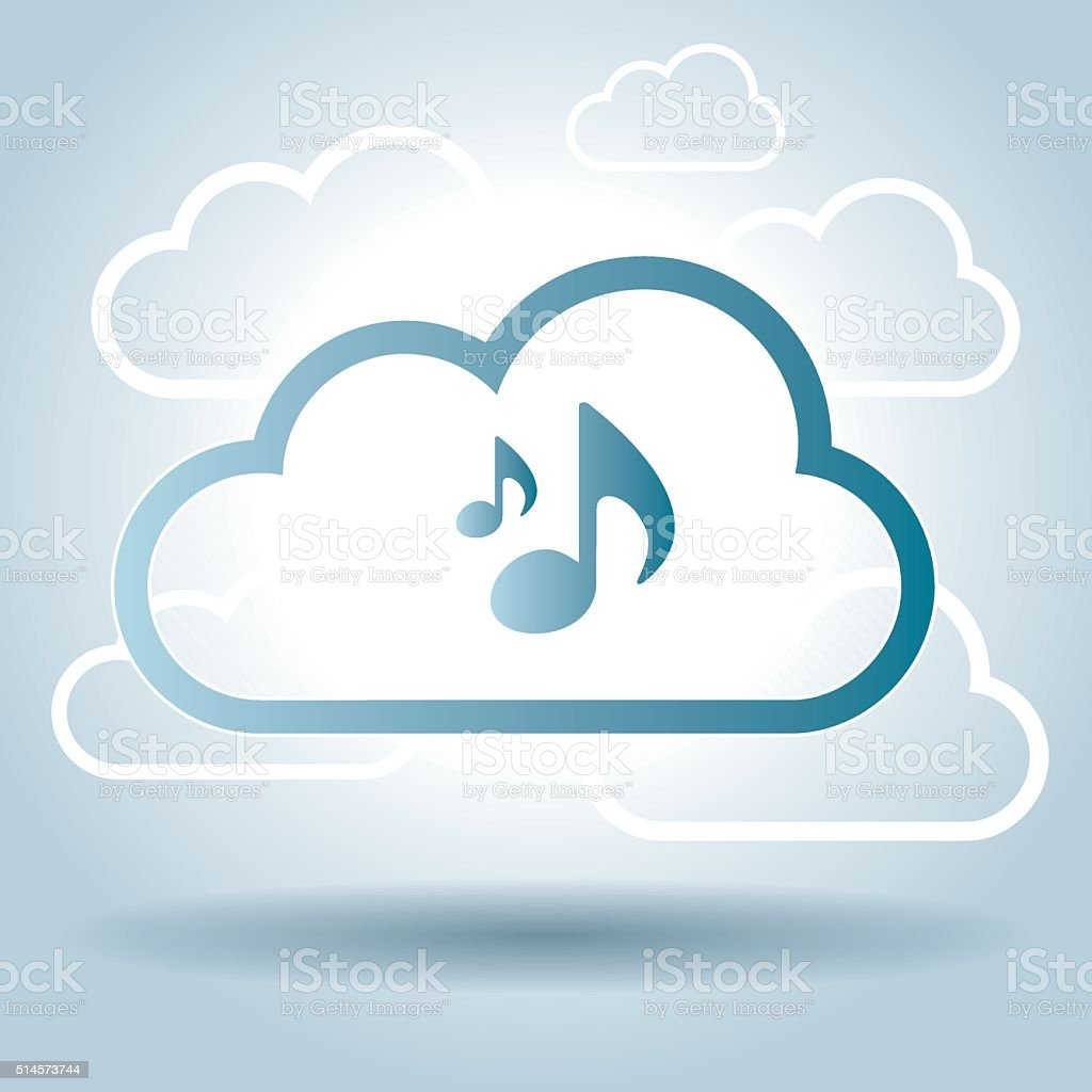 Music symbol design cloud broadcast vector art illustration