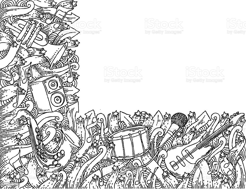 Music themed doodle background royalty-free stock vector art