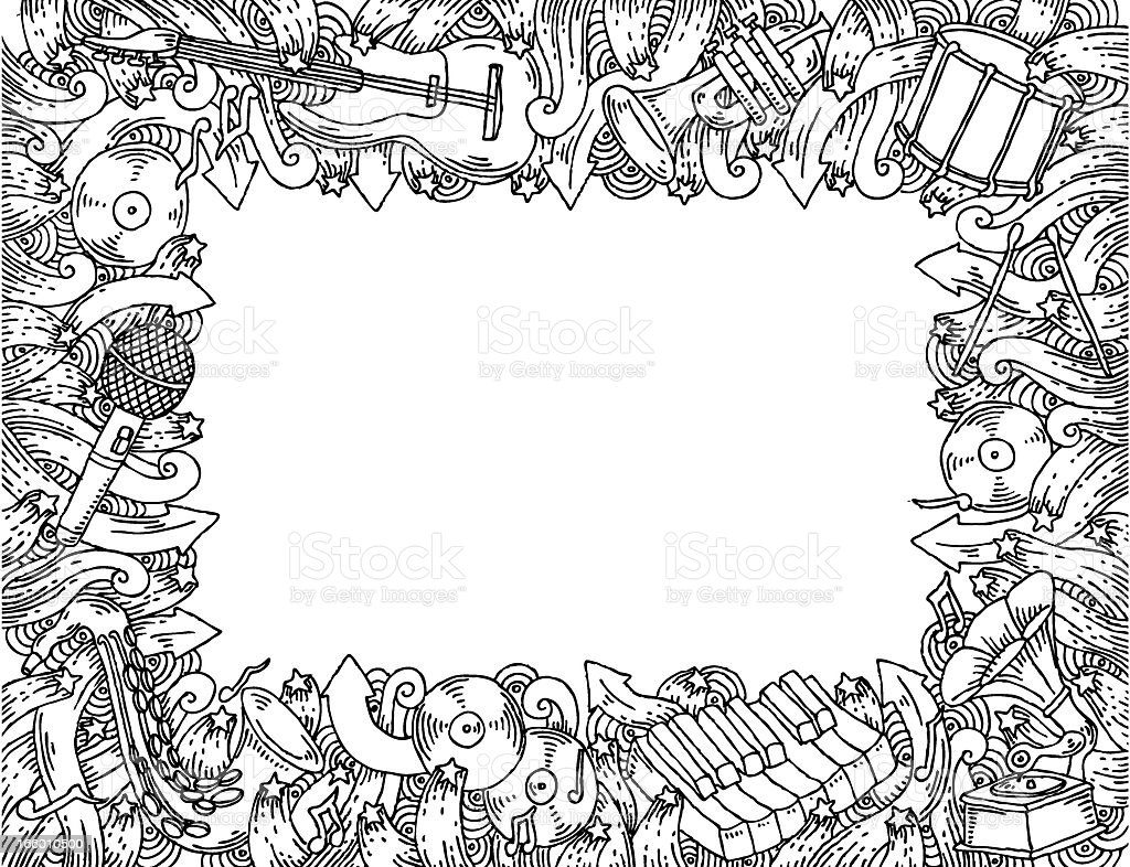 Music Themed Doodle Frame stock vector art 166010500 | iStock