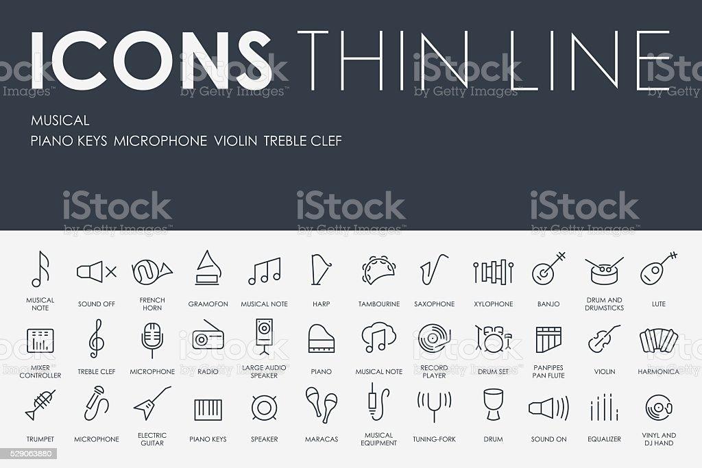 Music Thin Line Icons vector art illustration