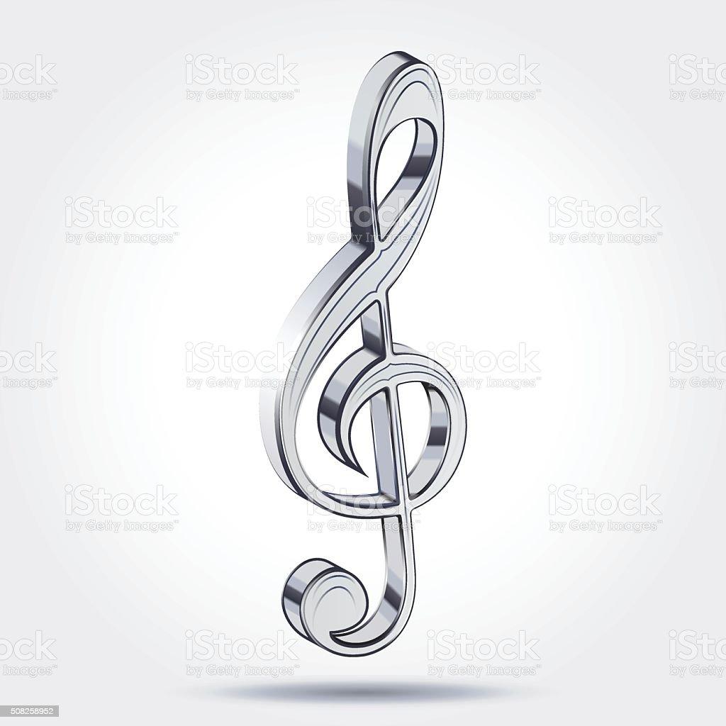 Music treble clef vector art illustration