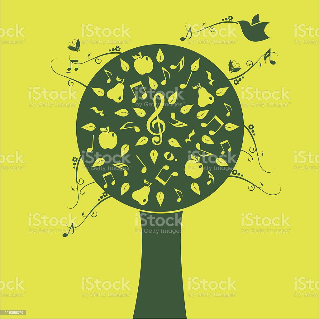 music tree green banner royalty-free stock vector art