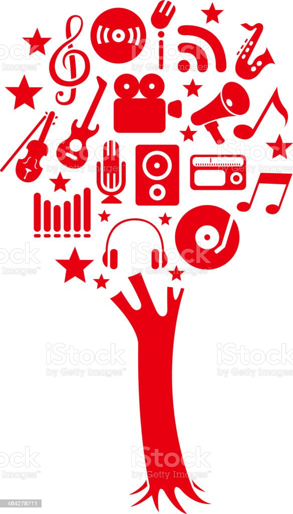music tree vector art illustration