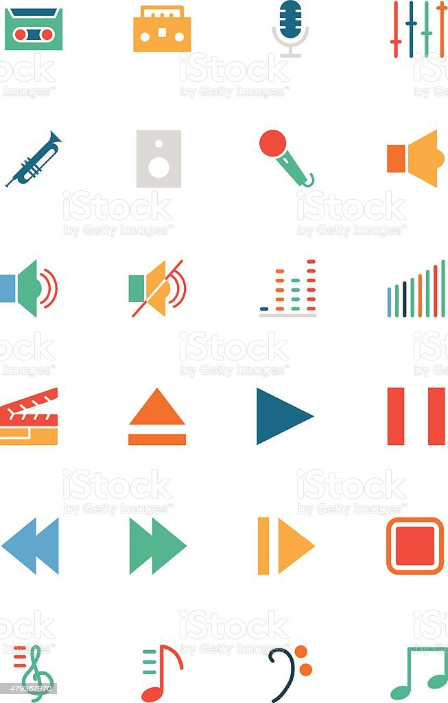 Music Vector Colored Icons 1 vector art illustration