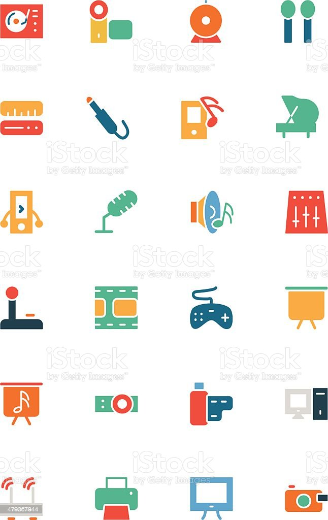 Music Vector Colored Icons 4 vector art illustration
