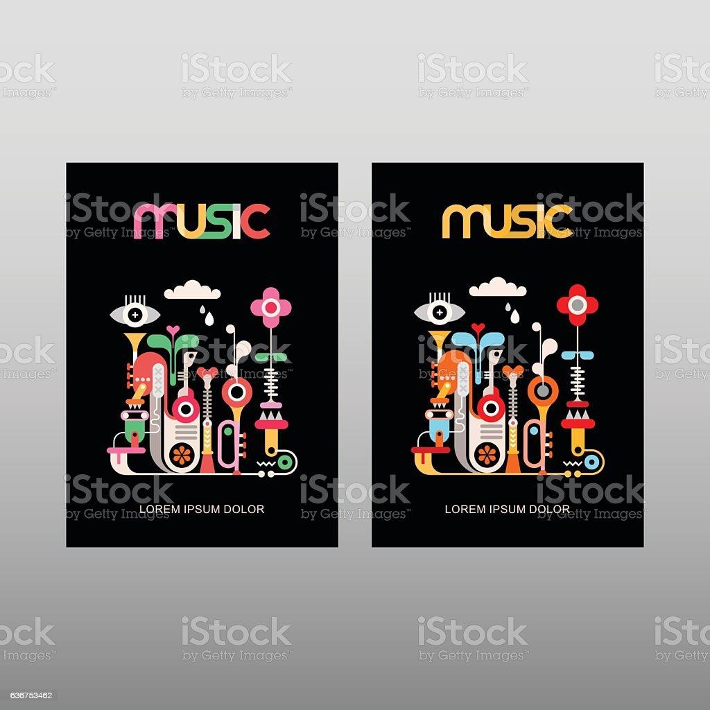 Music vector poster template vector art illustration