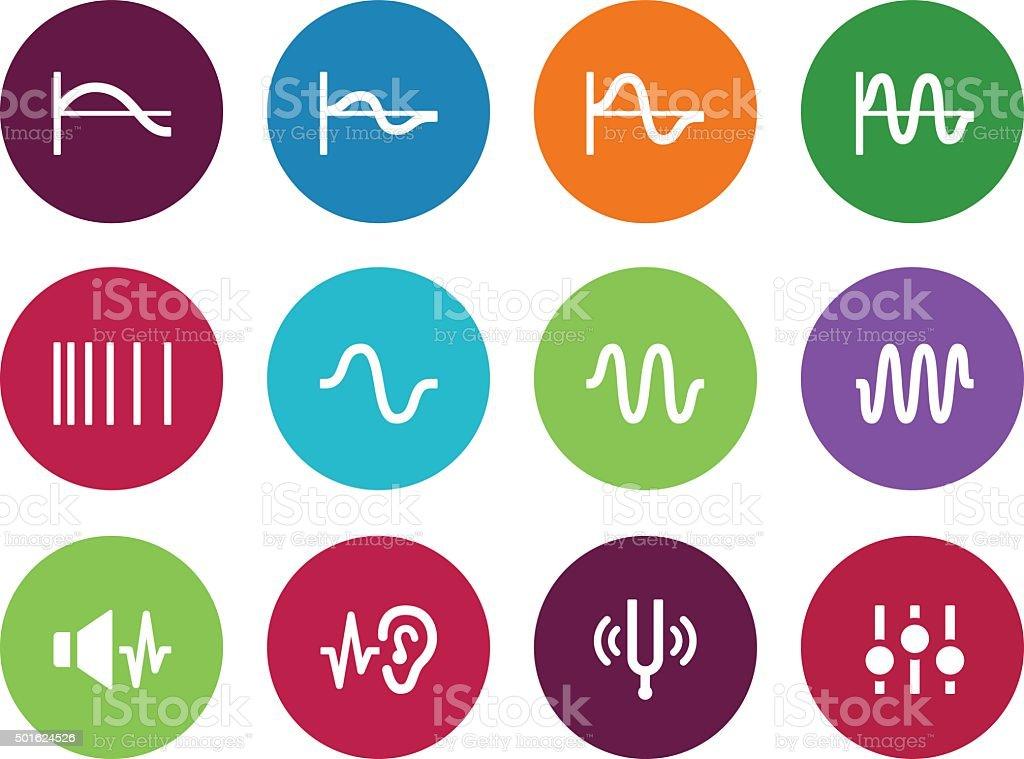 Music waves circle icons on white background vector art illustration