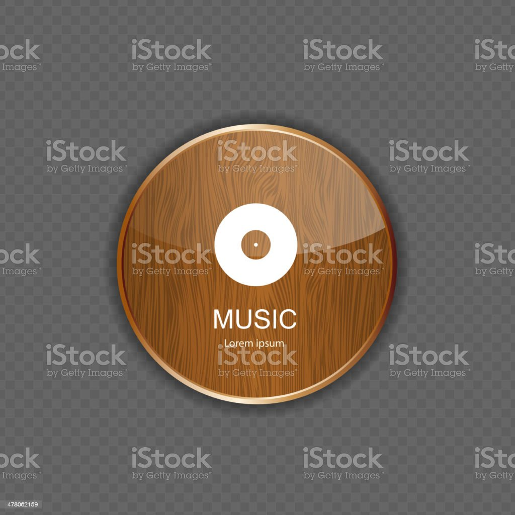 Music wood  application icons royalty-free stock vector art