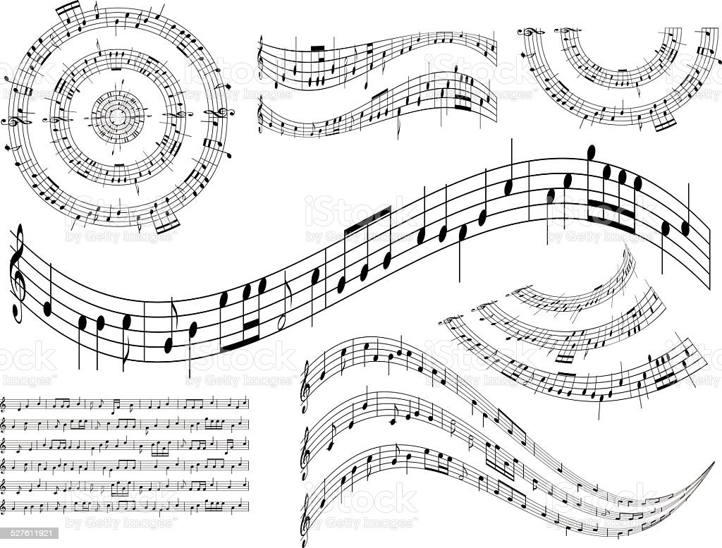 musical abstract design elements - vector set vector art illustration