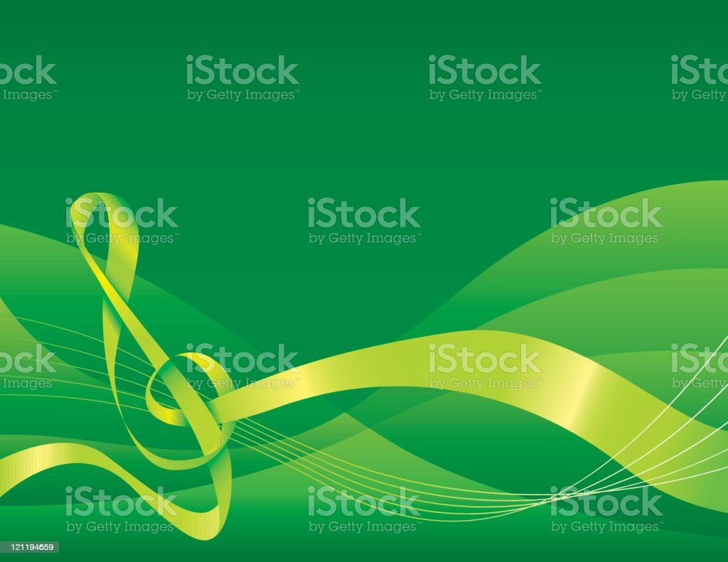 Musical background - green royalty-free stock vector art