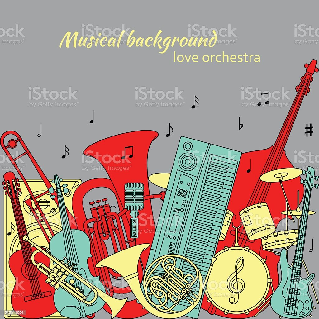 Musical background made of different musical instrument vector art illustration