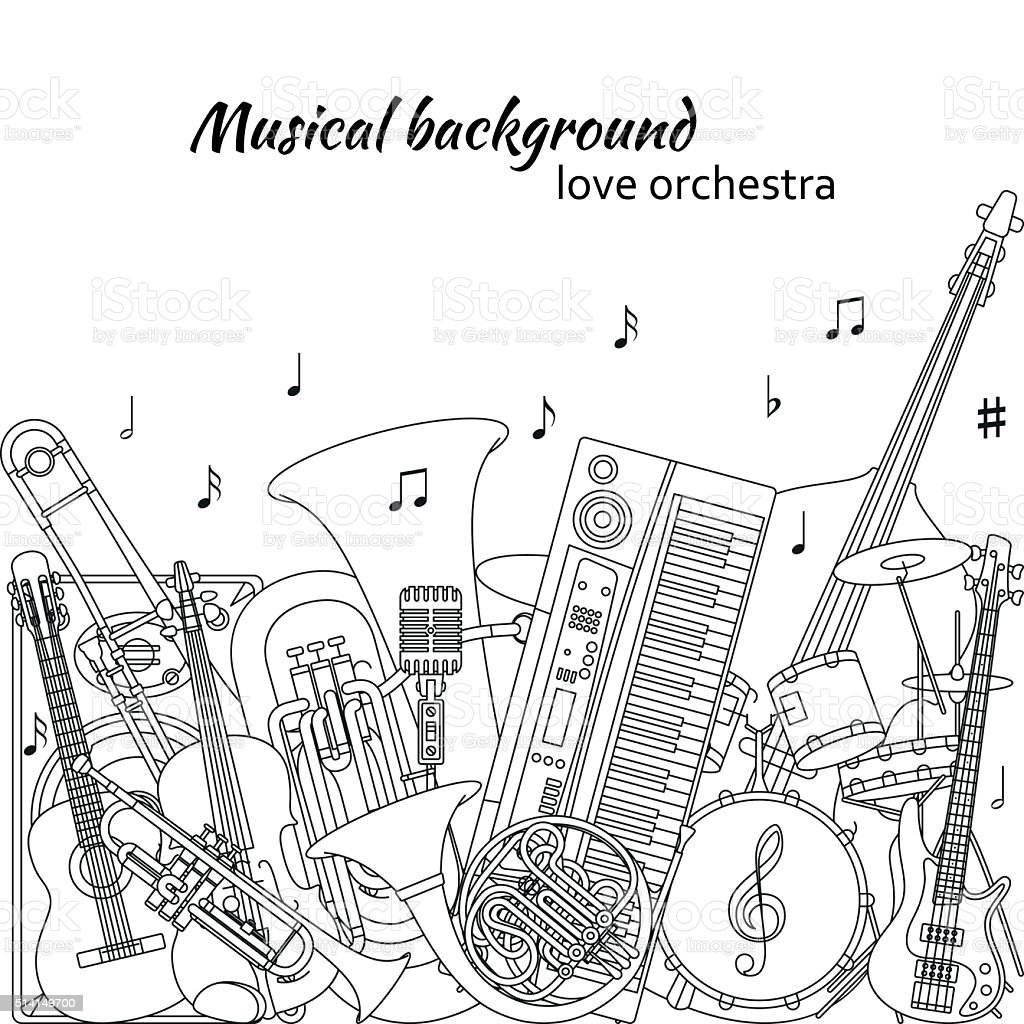 Musical background made of different musical instruments vector art illustration