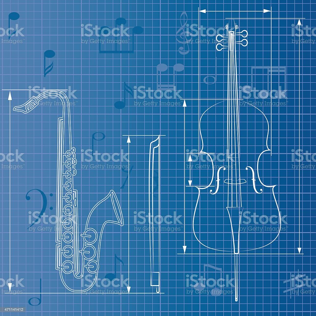 musical blueprint vector art illustration