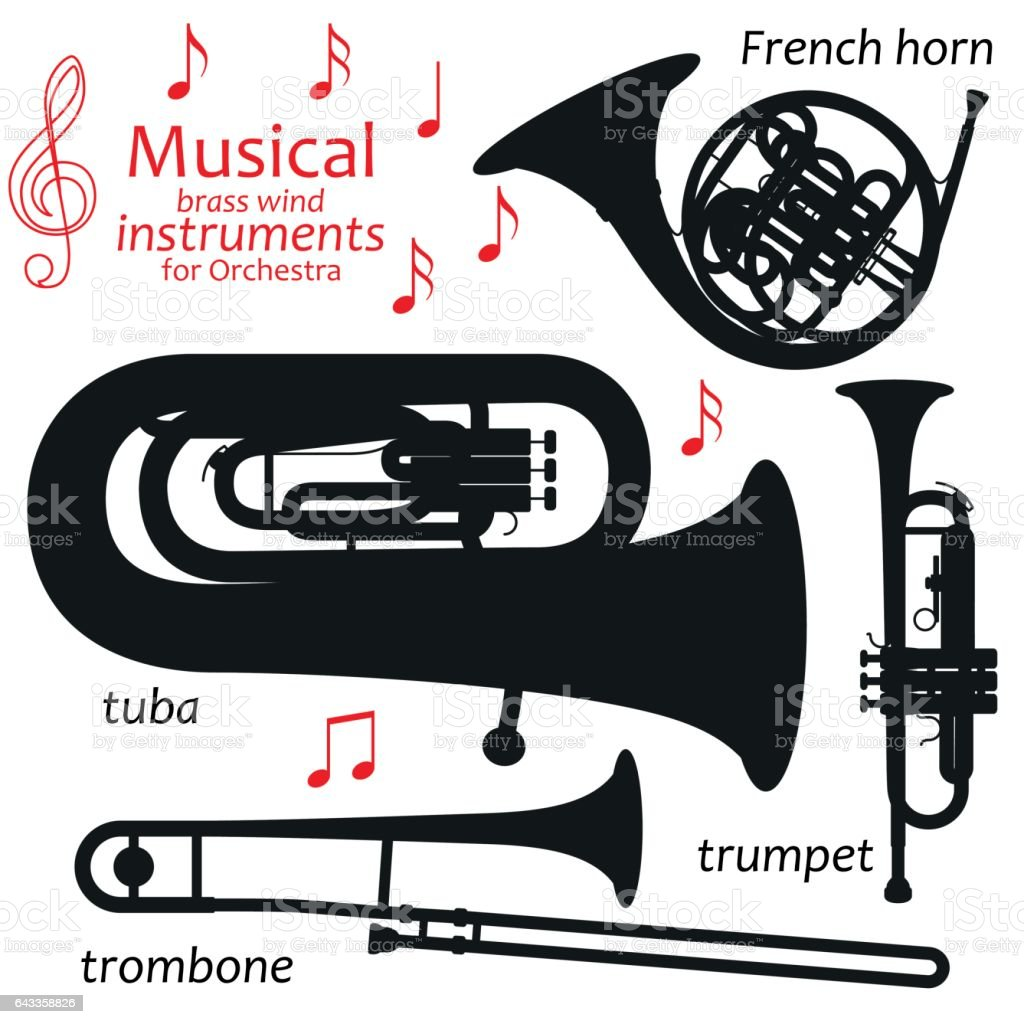 Musical brass wind instruments for orchestra vector art illustration