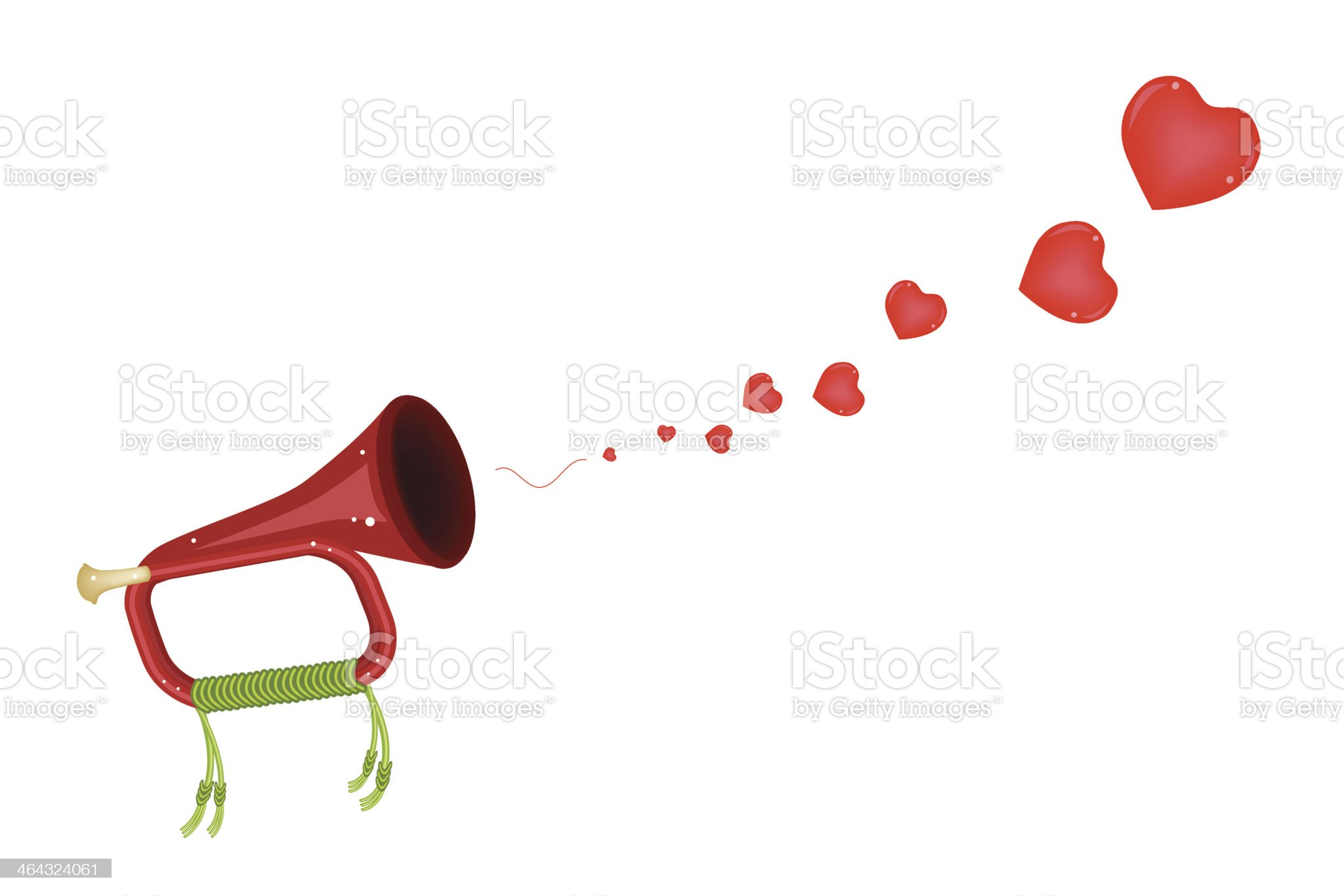 Musical Bugle Blowing A Lovely Heart royalty-free stock vector art