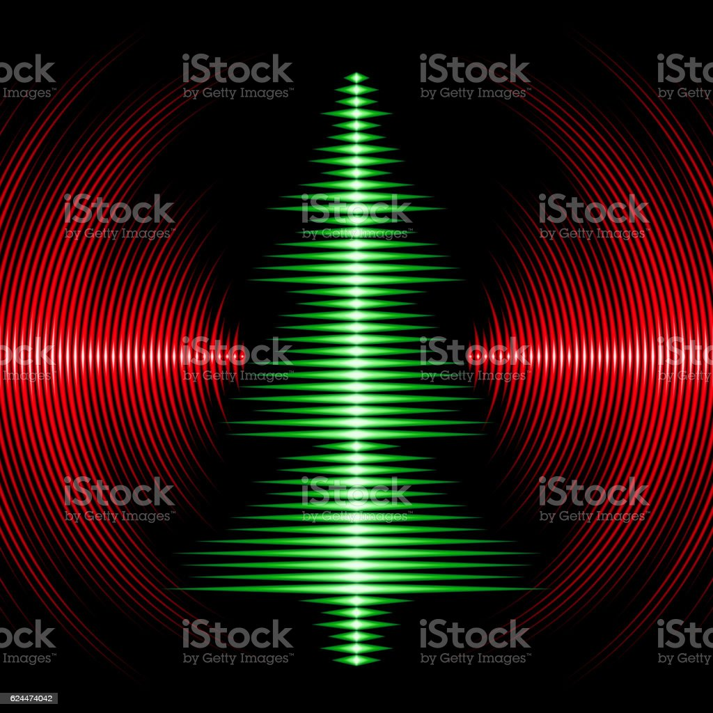 Musical christmas tree card with vinyl grooves vector art illustration