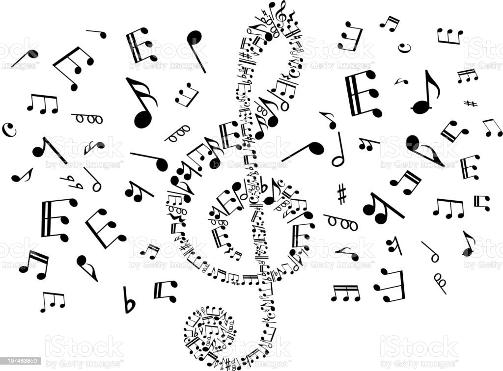 Musical clef with notes royalty-free stock vector art