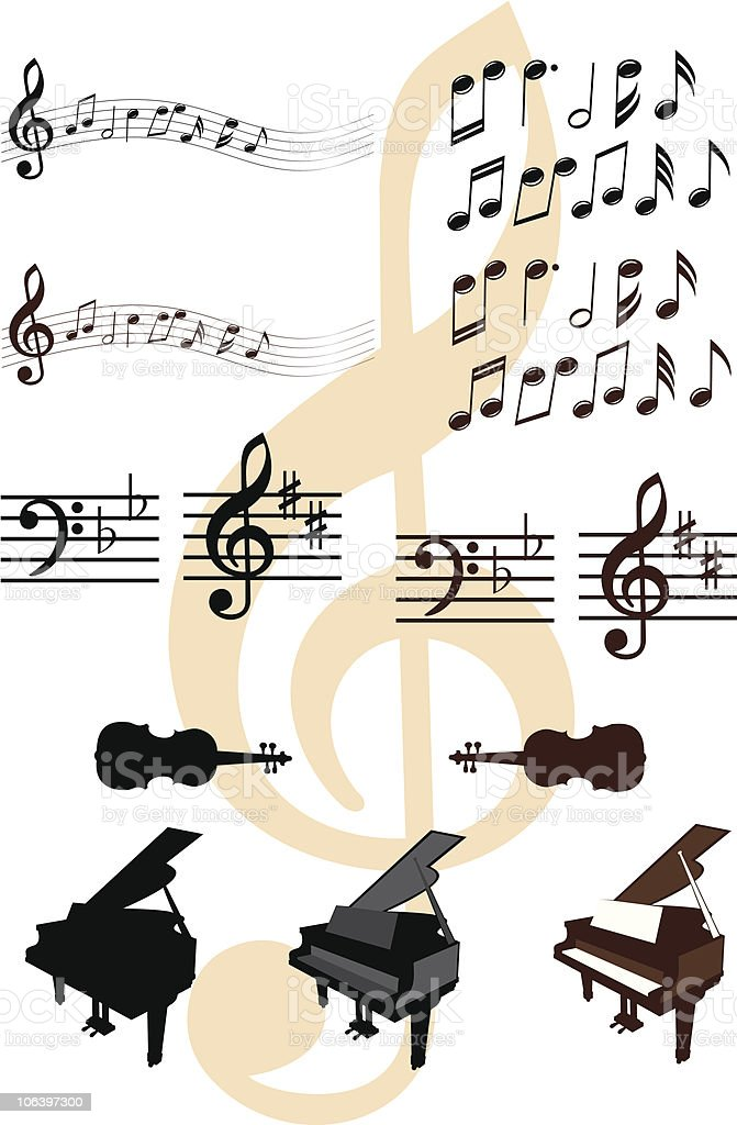 Musical design elements vector art illustration