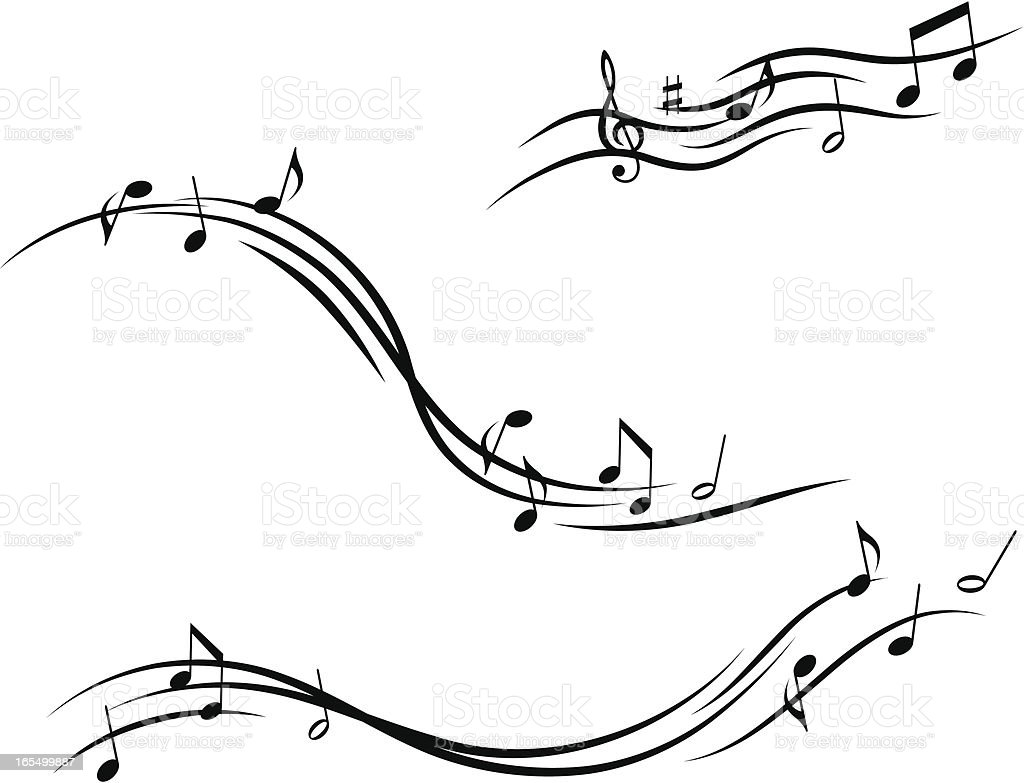 Musical design with lines and notes royalty-free stock vector art