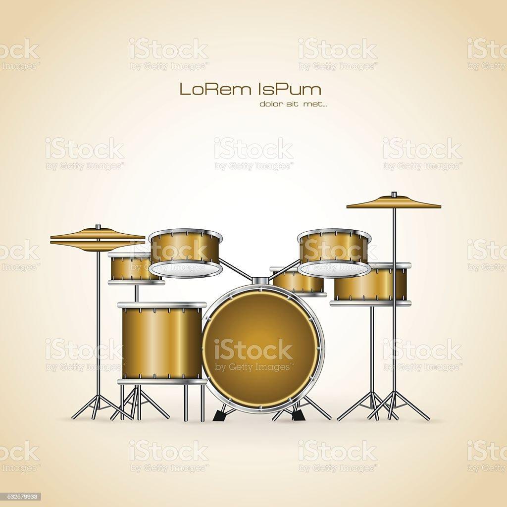 musical drum set vector art illustration