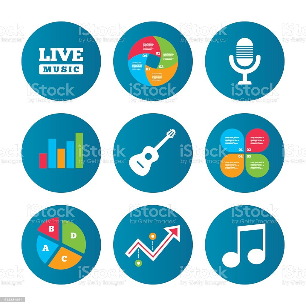 Musical elements icon. Microphone and guitar. vector art illustration