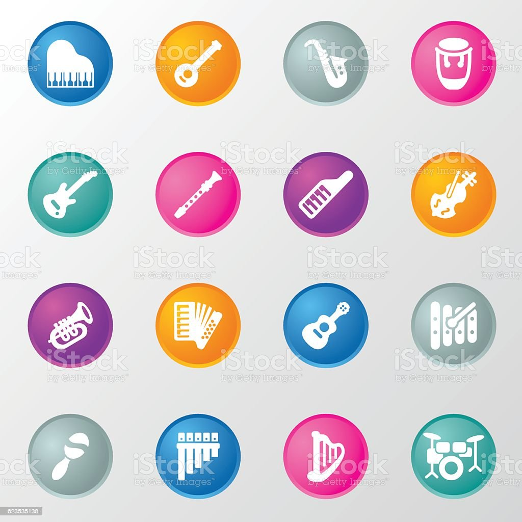 Musical Equipment Circle Color Icons vector art illustration