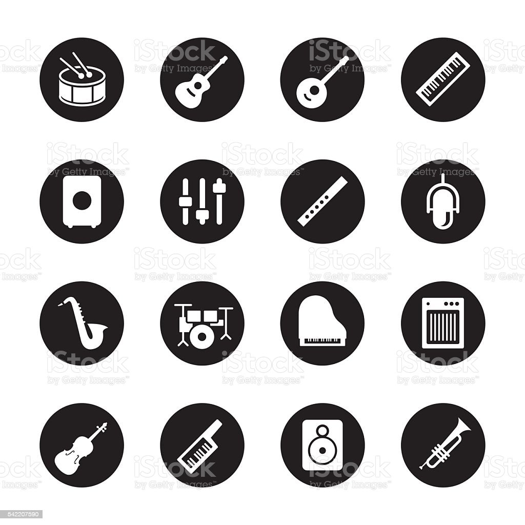 Musical Equipment Icons - Black Circle Series vector art illustration