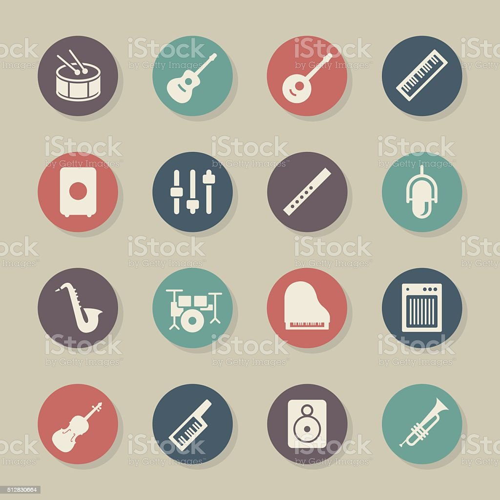 Musical Equipment Icons - Color Circle Series vector art illustration