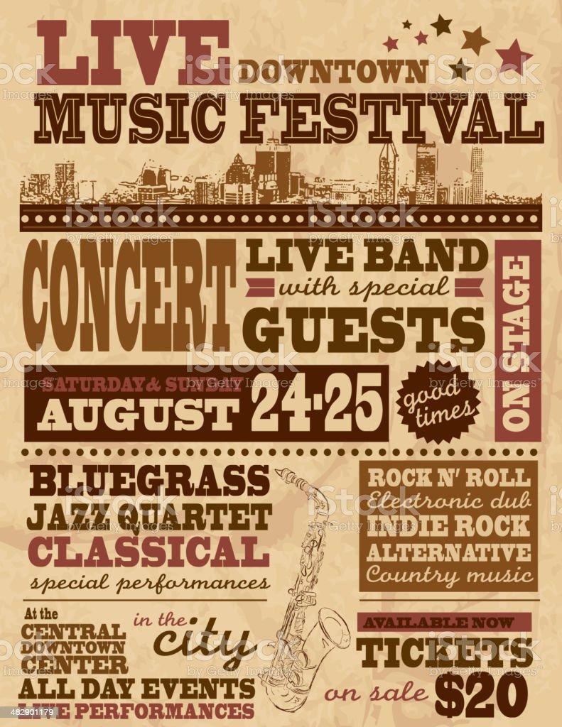 Musical festival poster design template royalty-free stock vector art