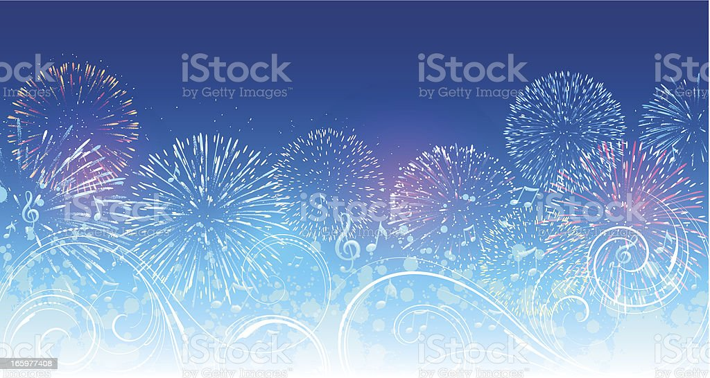Musical fireworks background royalty-free stock vector art