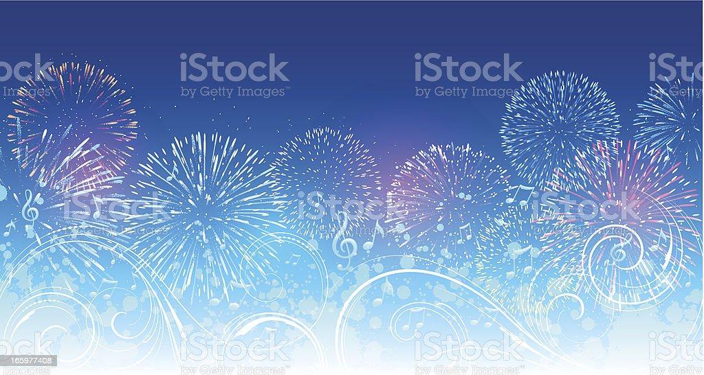 Musical fireworks background vector art illustration