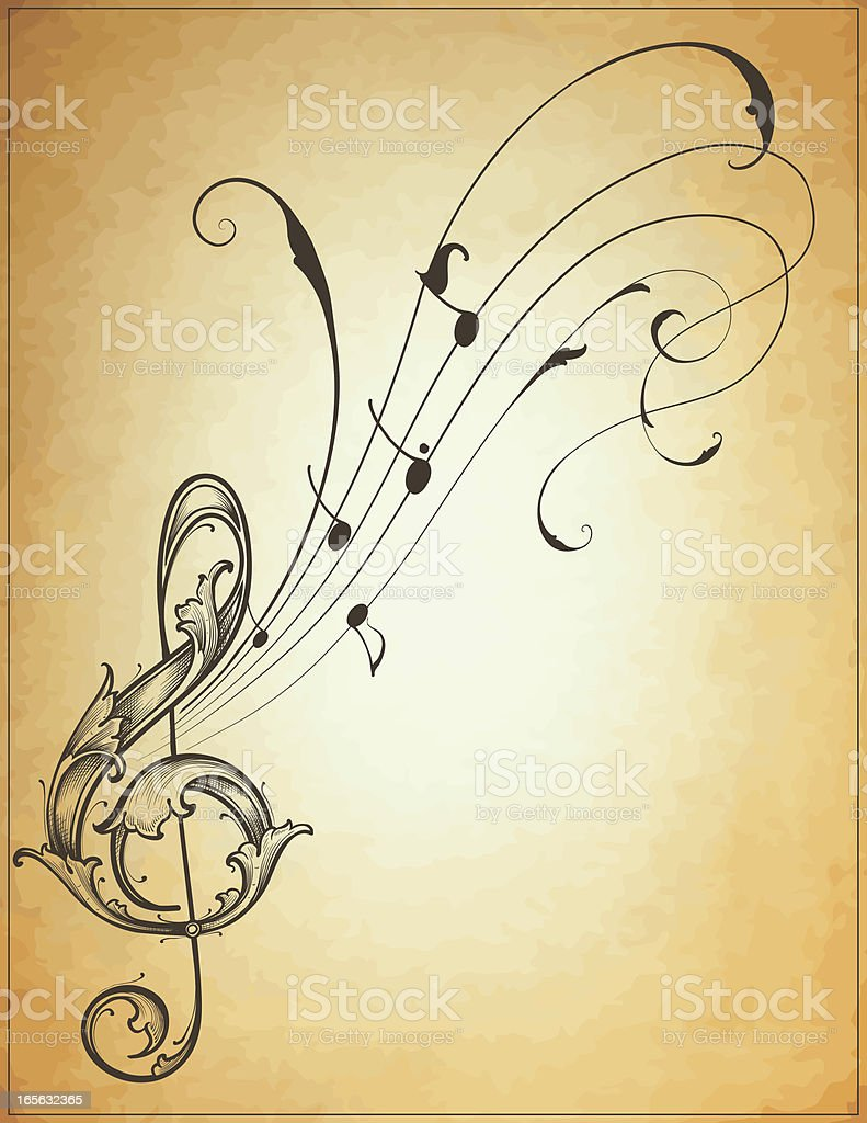 Musical Flow treble clef royalty-free stock vector art