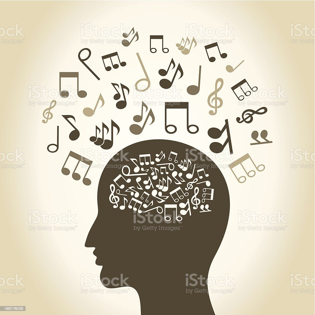 Musical head vector art illustration
