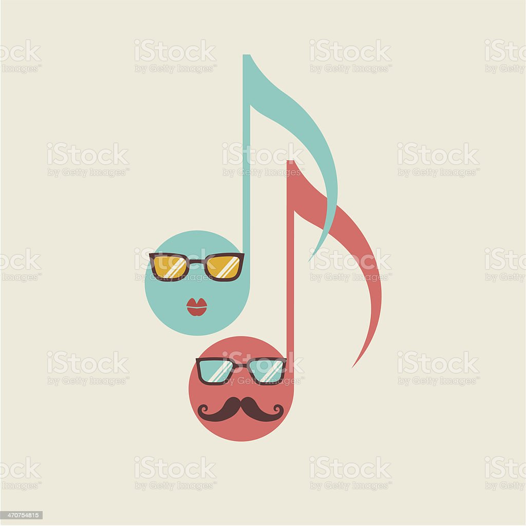 Musical hipster icon with notes royalty-free stock vector art