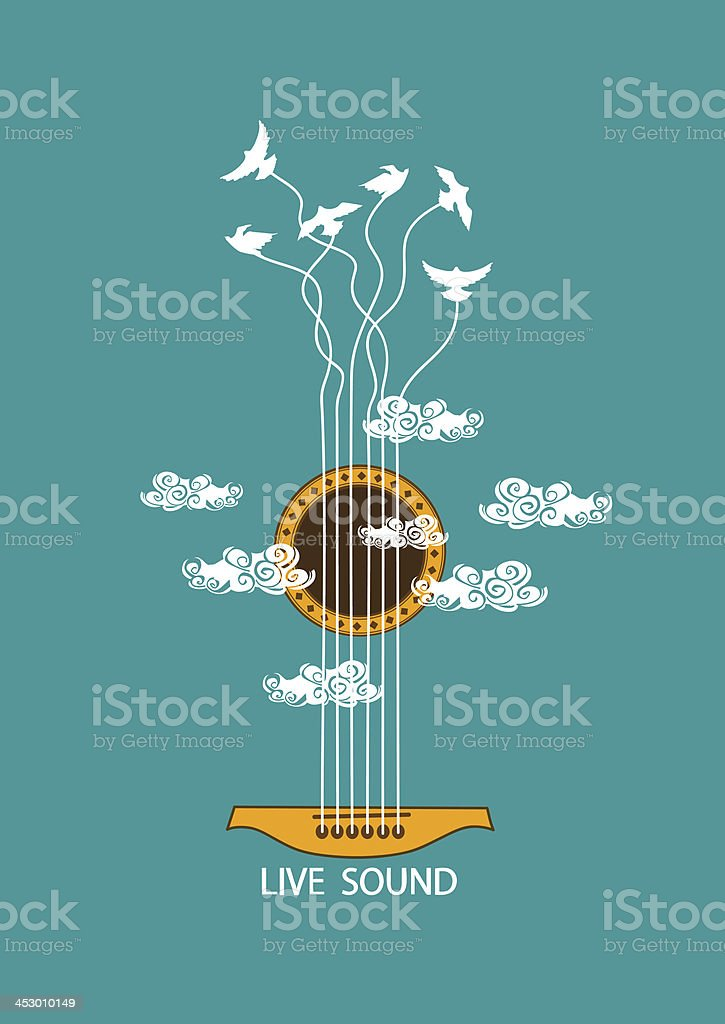 Musical illustration with concept guitar vector art illustration