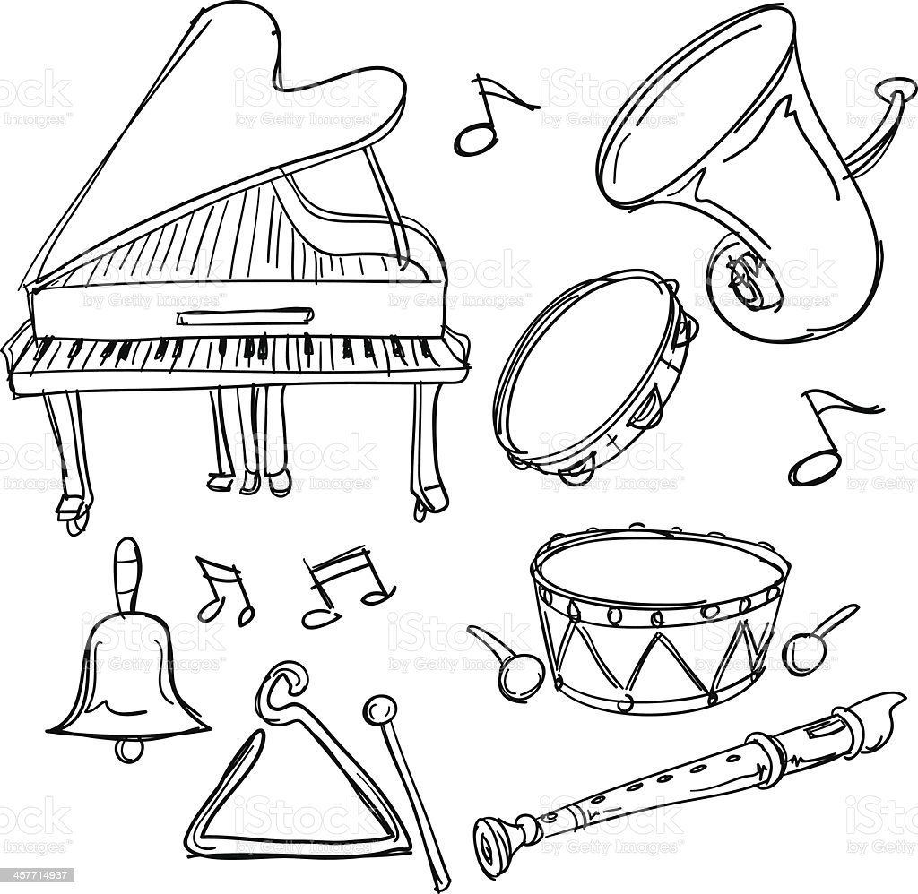 Musical Instrument collection in sketch style royalty-free stock vector art