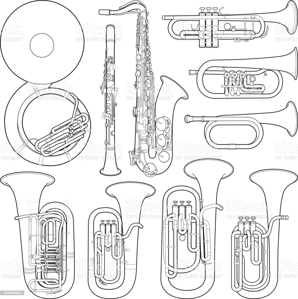 Musical instrument collection - vector line illustration vector art illustration