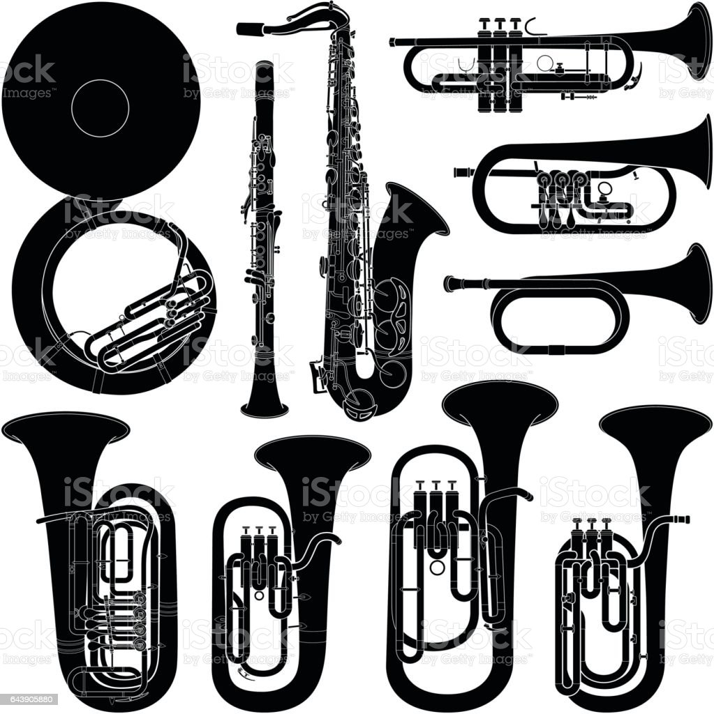 Musical instrument collection - vector silhouette illustration vector art illustration