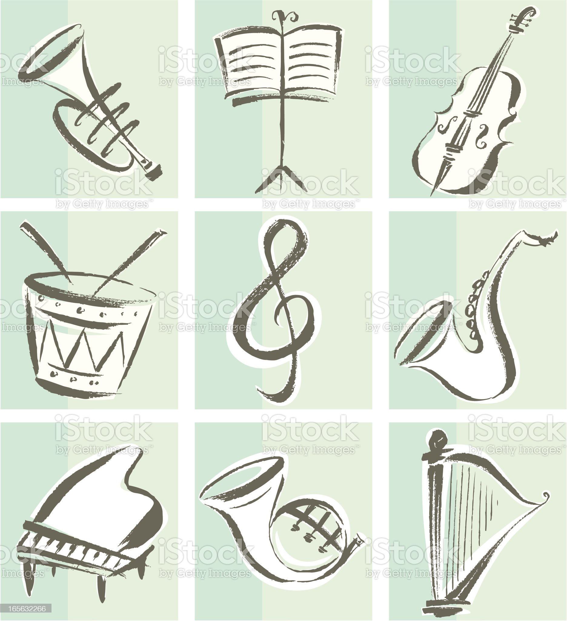 Musical Instrument Icons royalty-free stock vector art