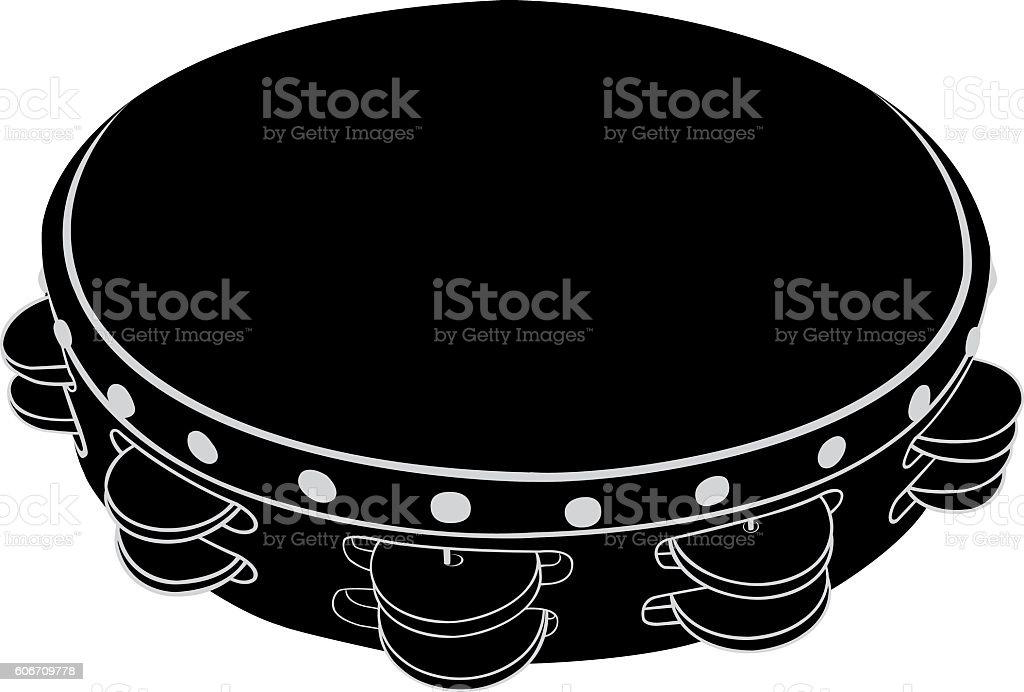 Musical instrument tambourine vector art illustration