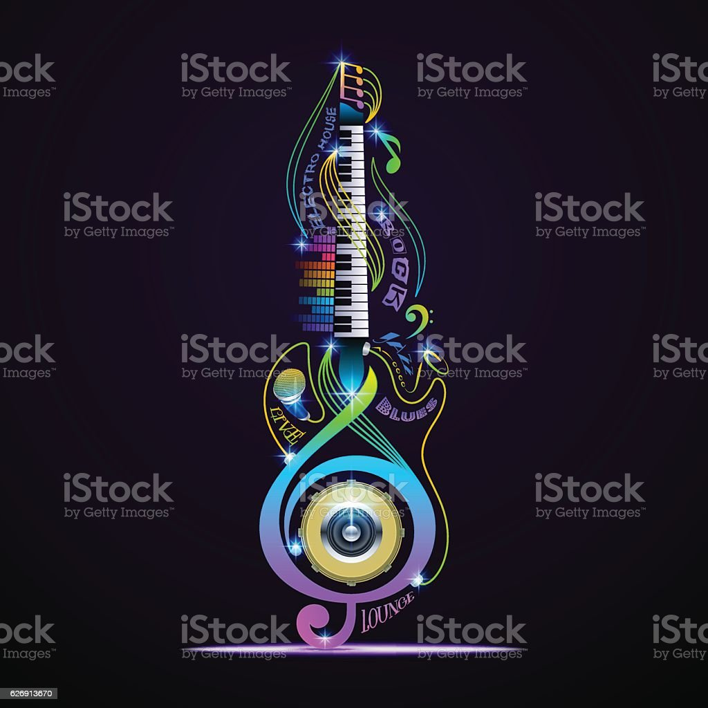 Musical instruments collage for rock, jazz, blues, lounge, electronic, live. vector art illustration