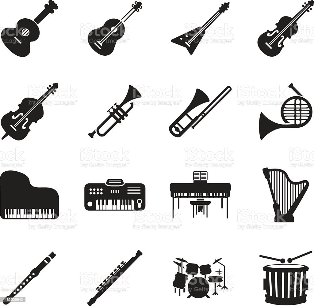 Musical instruments icon set vector art illustration