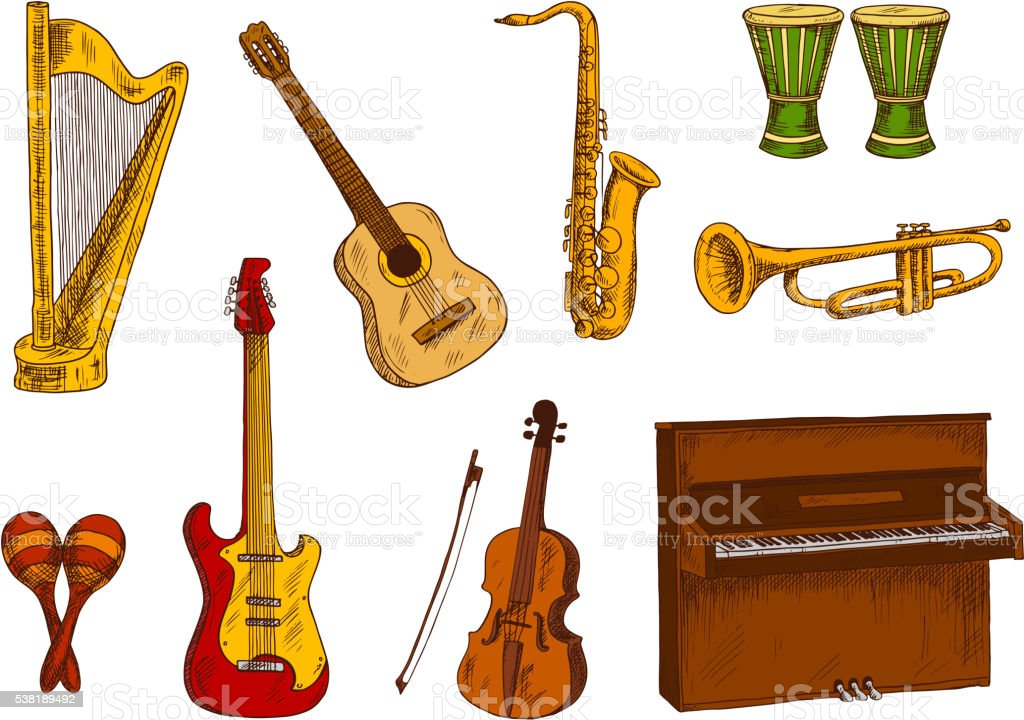 Musical instruments icons for entertainment design vector art illustration