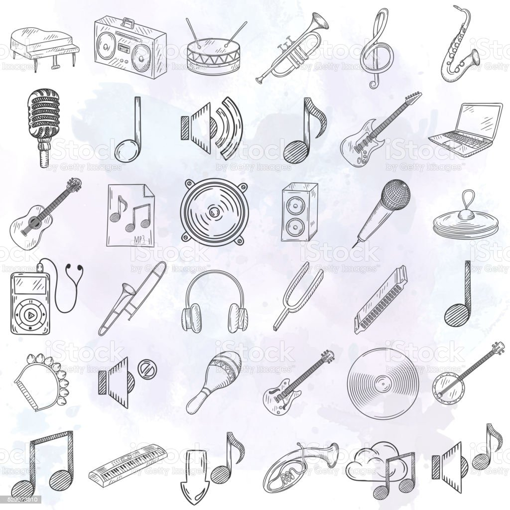 Musical instruments icons set. vector art illustration