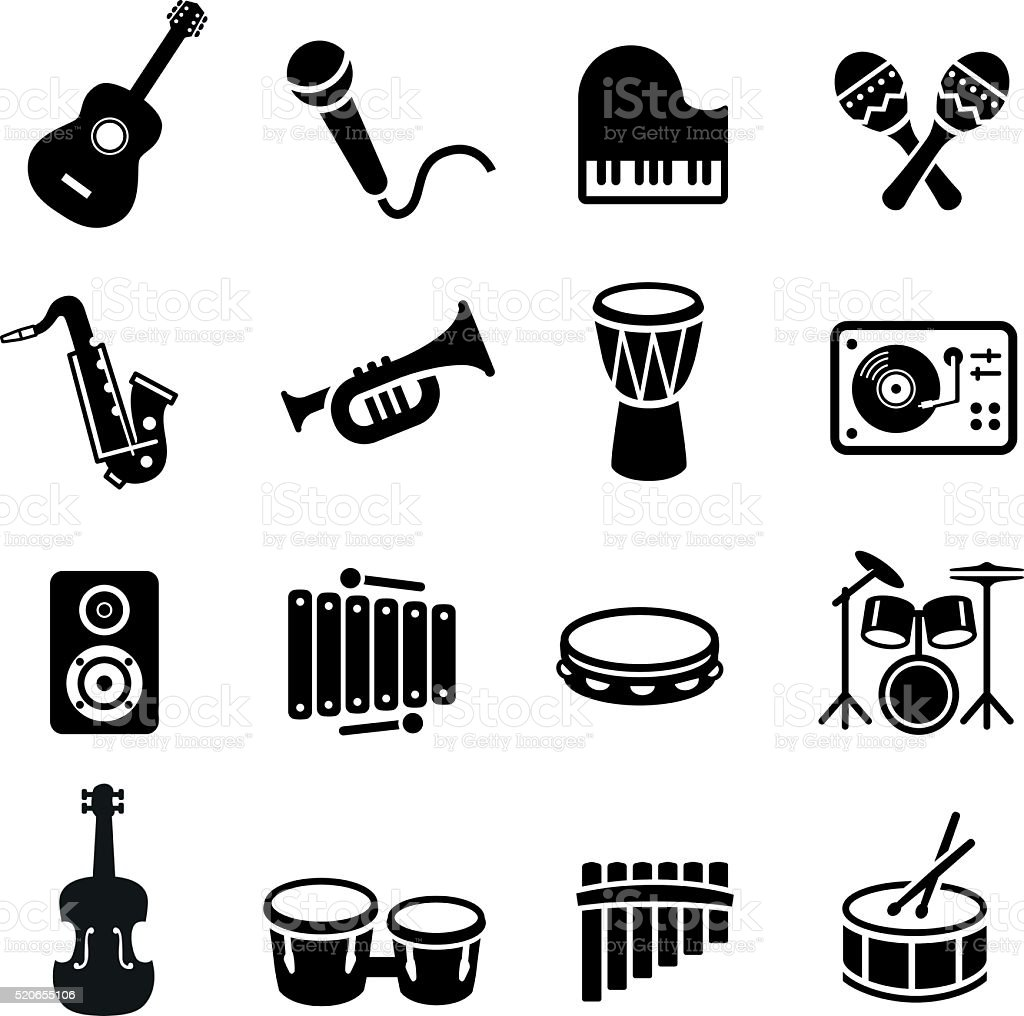 Musical Instruments Icons vector art illustration