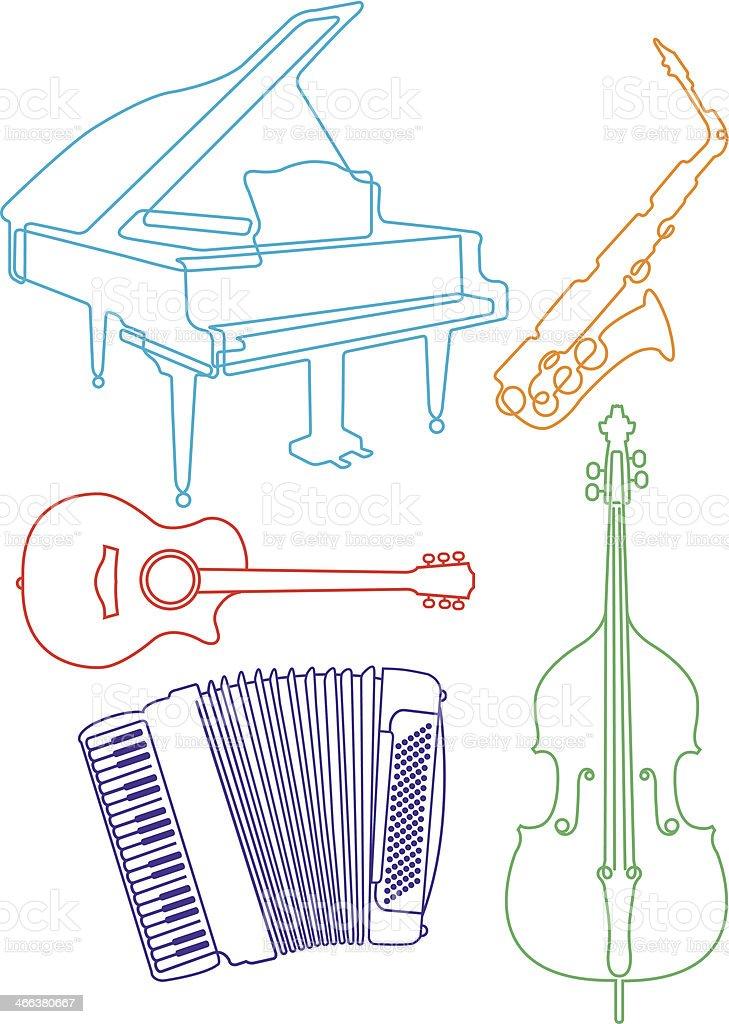 Musical instruments - Illustration royalty-free stock vector art