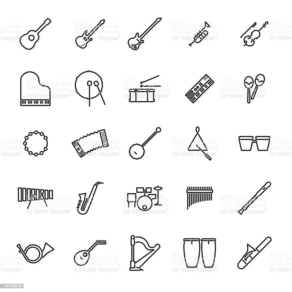 Musical Instruments Line Icon Vector Set vector art illustration
