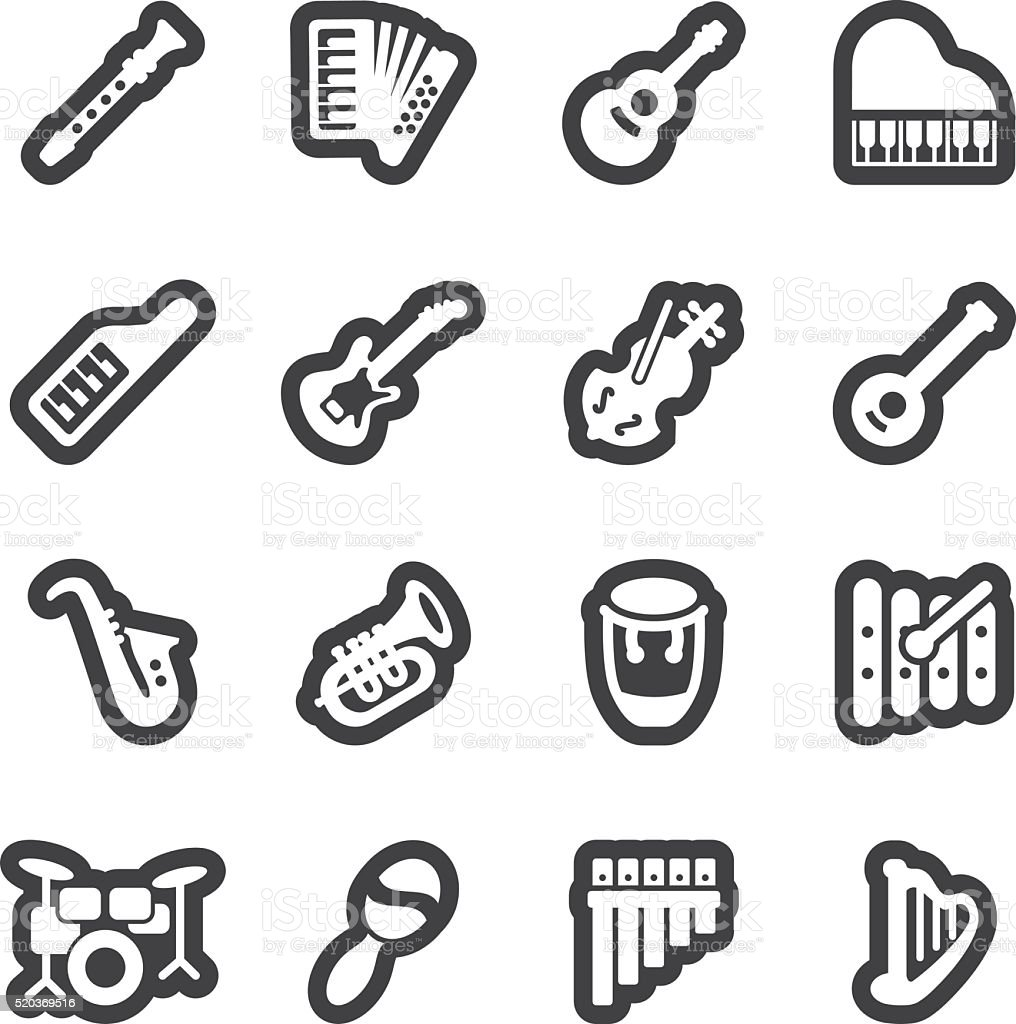 Musical Instruments line icons | EPS10 vector art illustration